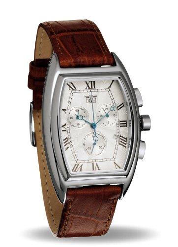 Davis 0030 Retro-Uhr Desmond, Chronograph, Tonnen-Gehäuse, Ziffernblatt Weiß Stahl, Lederarmband Braun