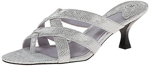 Johnston & Murphy Women's Katy Thong Dress Sandal, Silver, 6 M US
