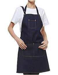 izielad Delantal de mezclilla para hombre Chef para barbacoas con bolsillos para herramientas