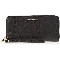 Michael Kors Leather Continental Wristlet, Sacs menotte femme, Noir (Black), 2.5x10.2x21.6 cm (B x H T)