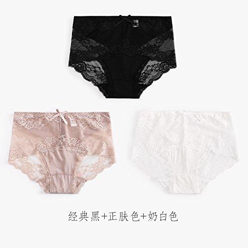 YMFIE Morbido e confortevole cotone traspirante signore sexy in pizzo Slip invisibile 3 cintura slim D