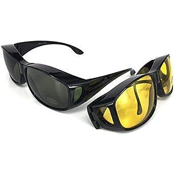 Wrap Around occhiali -Sovraocchiali | Set di 2 pezzi | Per guidare GIORNO e NOTTE | Protezione anti UV400 Coprire occhiali e Occhiali da vista regolari. | Adattamento sopra i bicchieri Colore nero