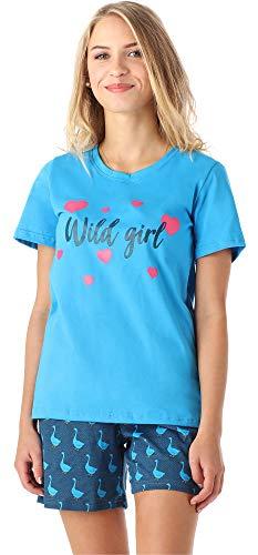 Merry Style Mädchen Jugend Schlafanzug MS10-195 (Blau Gans, 170) (Gans Mädchen)