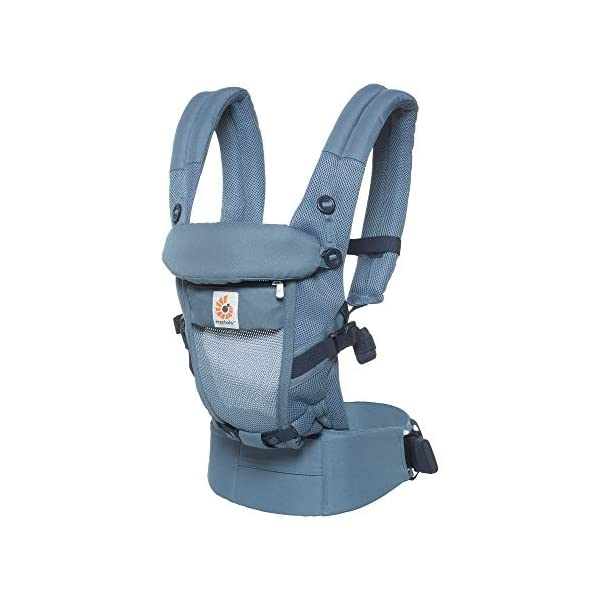 Ergobaby Baby Carrier for Newborn to Toddler up to 20kg, Cool Air Oxford Blue Adapt 3-Position Ergonomic Child Carrier Ergobaby Baby Carrier for newborns - The ergonomic bucket seat gradually adjusts to your growing baby, to ensure baby is seated in a natural frog-leg position (M-shape position) from newborn to toddler (3.2 to 20kg / 7-45 lbs). NEW - Now with lumbar support. Long-wearing comfort for parents with even weight distribution between hips and shoulders. Lumbar support waistbelt that can be adjusted to the height of the carry position for extra, long-wearing comfort. Adapt 3 carry positions: front-inward, hip and back. The carrier has a padded, foldable head and neck support and a tuck-away baby hood for sun protection (UPF 50+) and privacy. It is possible to breastfeed in the carrier. 3