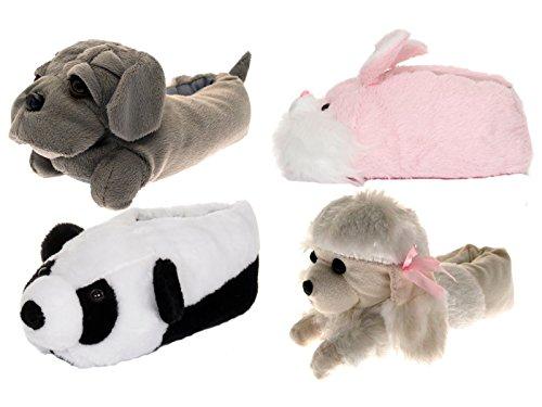 Unisex Tierhausschuhe aus Plüsch - Kinder & Erwachsene Grau Bulldogge