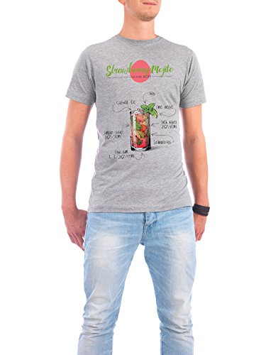 """Design T-Shirt Männer Continental Cotton """"Cocktail Strawberry Mojito"""" - stylisches Shirt Essen & Trinken von Arman Akopyan Grau"""