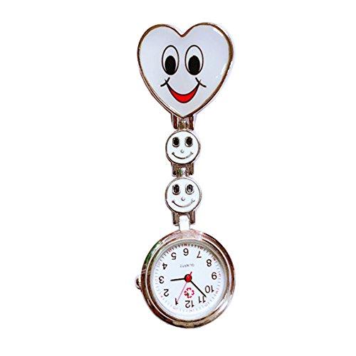 Weiß Herz Quarzuhrwerk Clip Krankenschwester Brosche Tunika Uhr Smiley