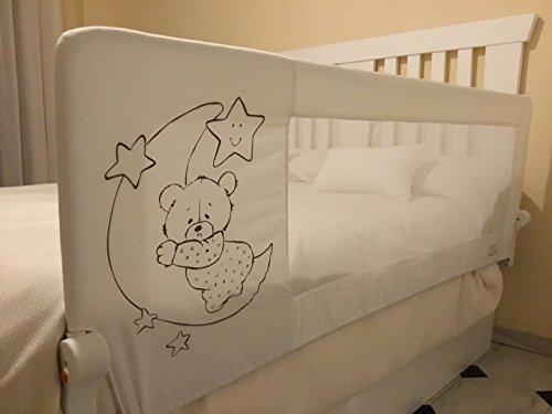 Barrera de cama para bebé, 180 x 66 cm. Modelo osito y luna gris. Barrera de seguridad. Sello de calidad SGS.