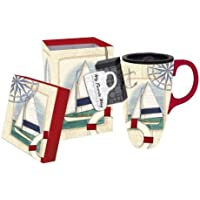 Sailboat Collage,Boxed Latte Travel Mug 17oz,Ceramic,6x5.25x3.5 Inches by Ashley