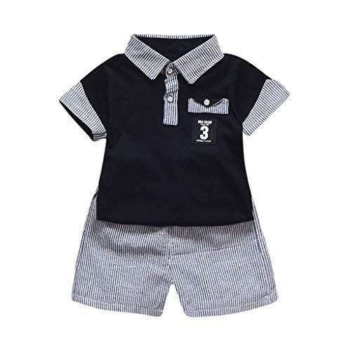 Männliches Baby scherzt 2PC Stripes Revers-T-Shirt Polo Shirt + Streifen-Kurzschluss-Sommer-beiläufige Kinder(Schwarz, 90/M/8)