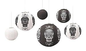 Amscan International - Farol de adorno para Halloween, color rojo, negro y gris