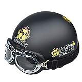 Mode AFFE Muster Persönlichkeit Helm Winter Männer Und Frauen Halb Helm Elektro Motorrad Helm Herren Vier Jahreszeiten Universal Helm (Farbe : SCHWARZ)
