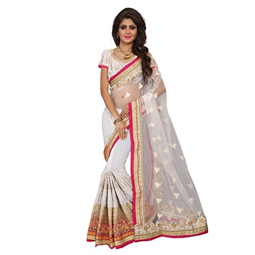 Fashion Fiza Women\'s Georgette Saree With Blouse Piece (279_Off White)