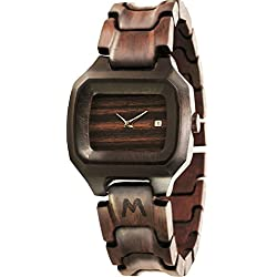 MATOA Alor - Handmade wooden watch from reclaimed Macassar Ebony wood | Unisex woodwatch for men & women | Special giftbox from Mahogany wood