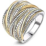 2 Tone Intertwined Crossover Statement Ring Wedding Bands Ring for Women Men Gold and Silver Plated Enhancers Ring