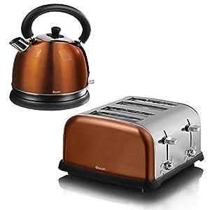 Swan Set Bouilloire Electrique 1,8L Dome Cuivre & Grille-Pain 4 Tranches Acier Inoxydable