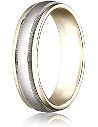 14ct 2 Colour Gold, 6mm Comfort-Fit Polished Band with Milgrain (sz H to Z5)