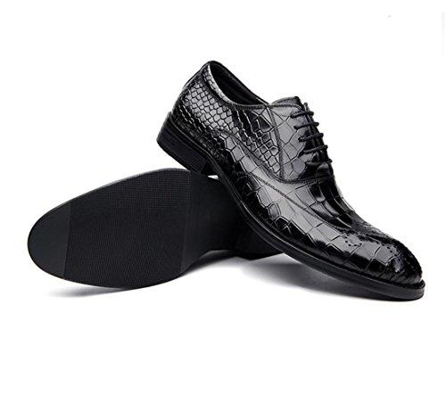 WZG Neue Winterlederschuhe Freizeitschuhe Leder Krokoprägung flache Schuhe der Männer spitze Schuhe Hochzeit Schuhe 9,54 Black