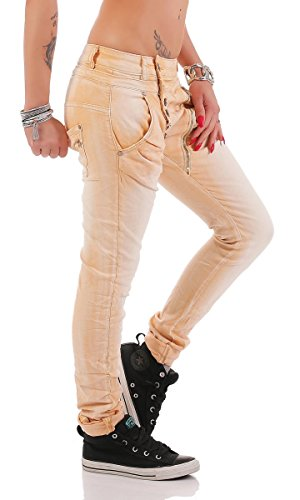 Fashion4Young - Jeans - Taille empire - Femme bleu bleu foncé L=42 Orange pastel