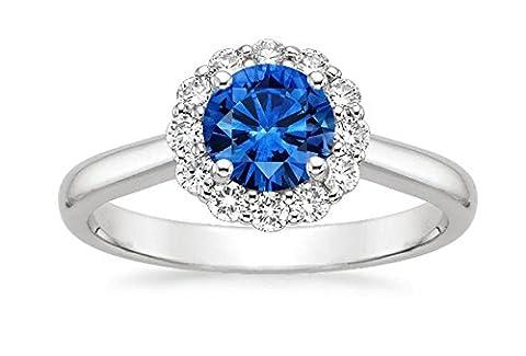 1.61CT Diamant Coupe Coussin Bague de fiançailles véritable diamant Bague de saphir bleu Pierre précieuse Anneaux Or blanc 14K tous les Taille I J K L M N O (Q)