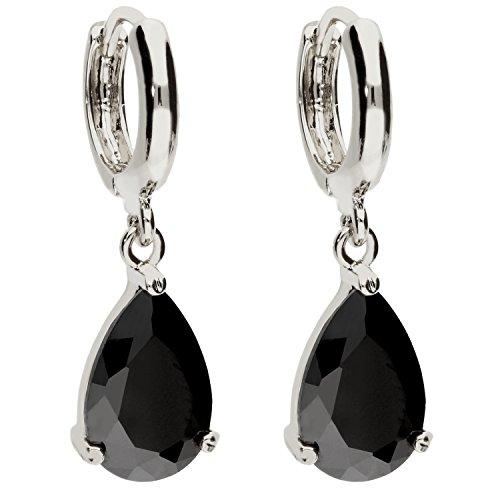 MYA art Damen Creolen Ohrringe Hängend Ohrhänger mit Zirkonia Stein Tropfen Oval Anhänger Silber Onyx Schwarz Vergoldet MYAWGOHR-70