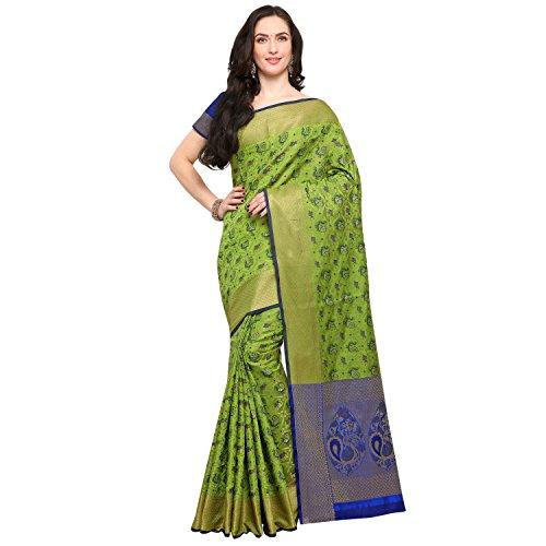 Janasya Women's Light Green Silk Patola Saree With Unstitched Blouse (SR033-10544-LIGHT-GREEN)
