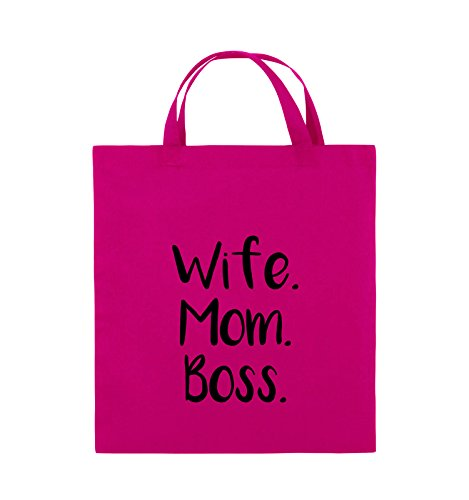 Comedy Bags - Wife Mom Boss - Jutebeutel - kurze Henkel - 38x42cm - Farbe: Schwarz / Silber Pink / Schwarz