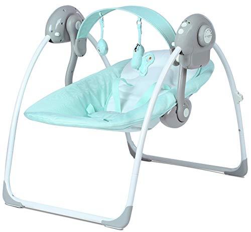 MamaLoes Eco Baby Lulula Babyschaukel mit Spielbogen mint/türkis, elektrisch, Babywippe mit Musik und Timer, waschbare Bezüge