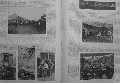 1899 CIRQUE SANGER ANGLETERRE ROULOTTES TROUPE SCENE BETES ARTISTES VESTIAIRES