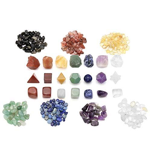 CrystalTears Kit de 7 Chakras de Cristales de curación Natural, Piedras de Palma, Piedras rugosas para Reiki, Yoga, meditación, wicca, Terapia, decoración del hogar