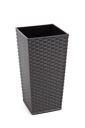 Preisvergleich Produktbild Rattan Blumentopf Übertopf Pflanzkübel Blumenkübel- UV - Beständig 40x40x75 cm anthrazit