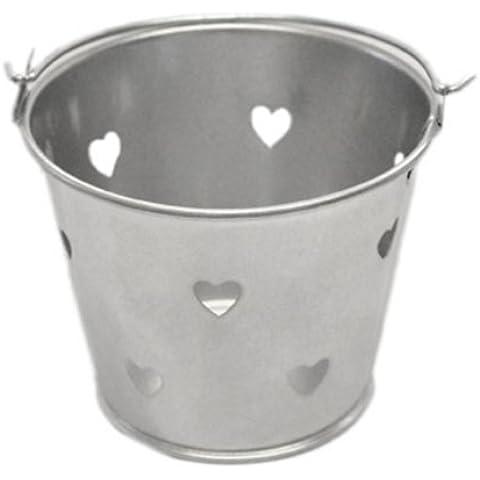 Plateado diseño de corazones Metal favor cubo (10unidades) (xmefabu23)