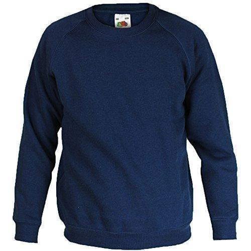 fruit-of-the-loom-sweat-garcon-fille-enfant-ecole-uniforme-manche-longue-coton-itl-7-8-ans-bleu-mari