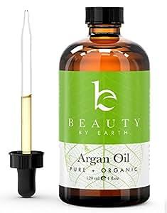 Olio d'Argan – Olio biologico USDA, proveniente dal Marocco, 4 once (118,2 ml) – Extravergine, spremuto a freddo, ideale per capelli, pelle, unghie e per  idratare – Trattamento del crespo, acconciatura di capelli ricci – Aiuta a prevenire l'invecchiamento precoce e le rughe.  Importato dal Marocco da Beauty by Earth