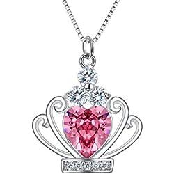 Clearine Joyas de Plata 925 CZ Reina Corona Piedra del Zodíaco Octubre Collares Elegant Regalo Adornado con Cristales Swarovski® Pink Tourmaline