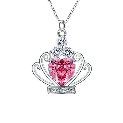 Clearine Damen 925 Sterling Silber CZ Herz Form Queen Krone Anhänger Halskette Kristall von Swarovski Pink Turmalin Farbe October Geburtsstein Pink Form
