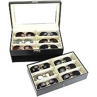 Caja de cuero negro 12 ranuras para la lente de gafas de sol