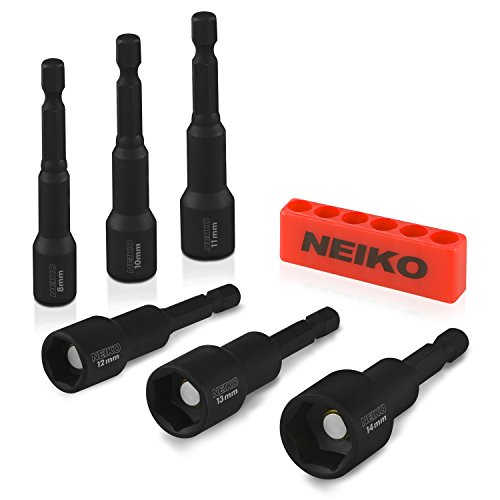 Neiko 10191A Impact Ready Magnetic Nut Driver Bit Set, 6-Piece CR-V | Metric