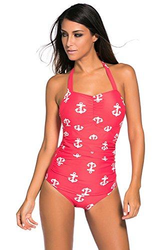 Neue Damen Rot & Weiß Anker Print 50er Jahre Stil Neckholder Badeanzug einem Stück Monokini Dance Wear Kostüm Größe L UK 10–12EU (50's Kostüme Dance)