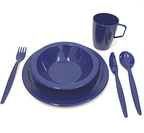 Harfield Polycarbonate Plastic Camping Tableware Set - Plate, Bowl, Beaker and Cutlery - Royal Blue