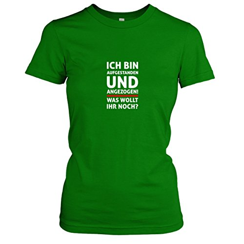 TEXLAB - Aufgestanden und angezogen - Damen T-Shirt, Größe XL, grün (Grüne Frühstück Kissen)