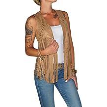 7e8c741bfd04d4 Dresscode-Berlin DB Damen Weste im Boho Wildleder Look mit Fransen in  Camel, Rose