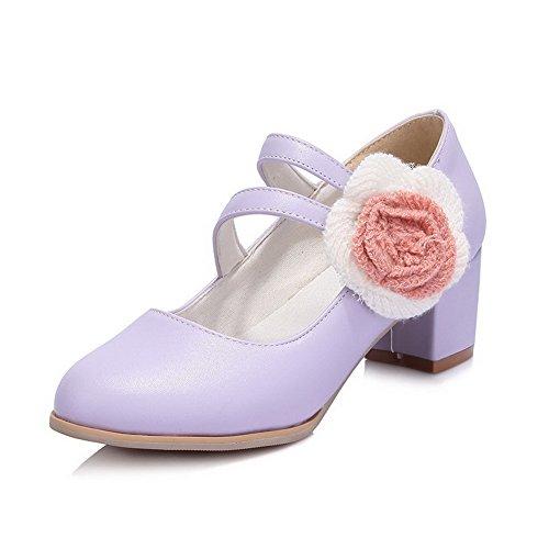 VogueZone009 Femme Velcro Pu Cuir Rond à Talon Correct Couleur Unie Chaussures Légeres Violet