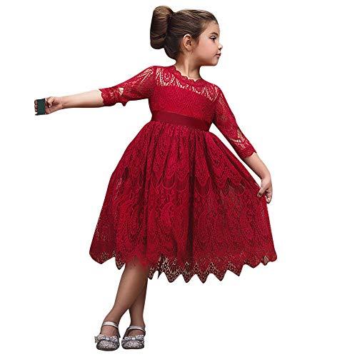 Baby Prinzessin Kleider, Kleinkind Kinder 3/4 Hülse Bogen-Knoten Spitze Blume Tüll Einfarbig Party Pageant Kleidung Abend Tragen(Rot,110)