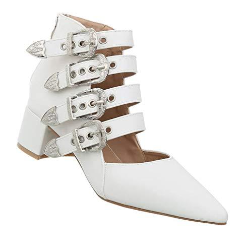 Damen Pumps Gothic | Schnallen Riemchenpumps | Grufti Sandalette | Spitze Blockabsatz Sommerschuhe | Party Underground Boots | Weiß 36