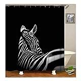 Beydodo Vintage Duschvorhang 120X180 Zebra Antischimmel 3D Duschvorhang