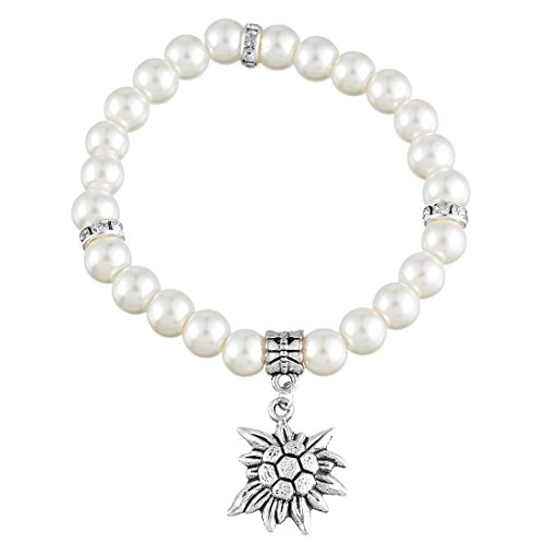 MJARTORIA Edelweiß Armband Perlenarmband Weiß Perlen Oktoberfest Anhänger Charms 19cm
