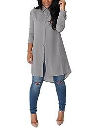 20083b39532d Minetom Femmes Chemise Robe Manches Longues Mousseline de Soie Lâche Mode  Casual Tunique Robe Blouse Shirt