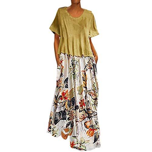 QIMANZI Damen Freizeit O-Neck Lose 3/4 ÄrmelWeinlese Lässig Blumen Drucken LangKleiden(B Gelb,L) - Sleeve Ballet Neck-shirt