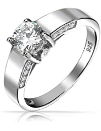 Sterling Silber moderne Solitaire CZ Runde Engagement Ring